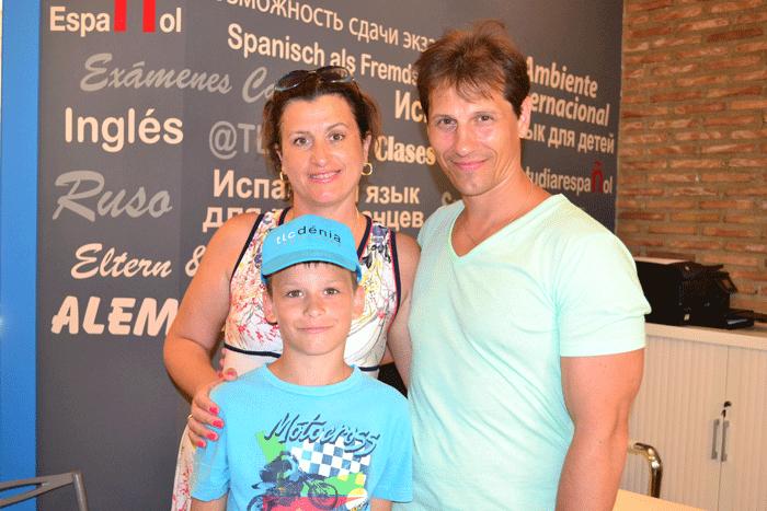 Family studying Spanish at school in Denia, Spain