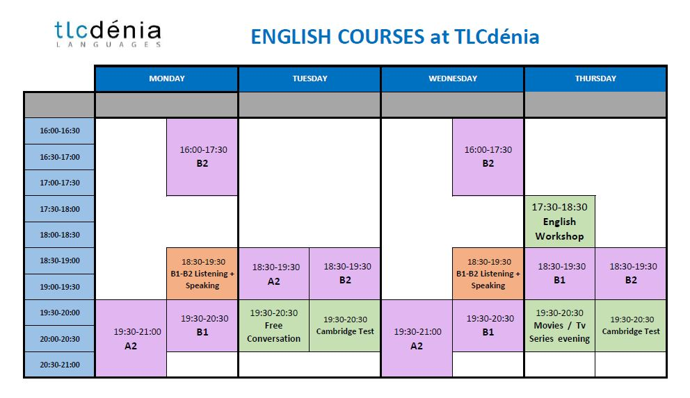 Schedule-general-course-english