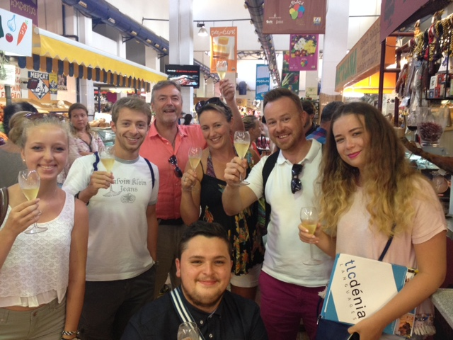 Spanish students in the main market in Denia