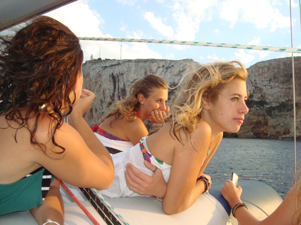 Students during a boat trip in Denia
