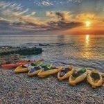 Kayaks on the beach in Denia