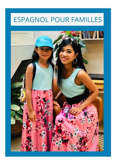 mère et fille apprennent l'espagnol en famille en Espagne