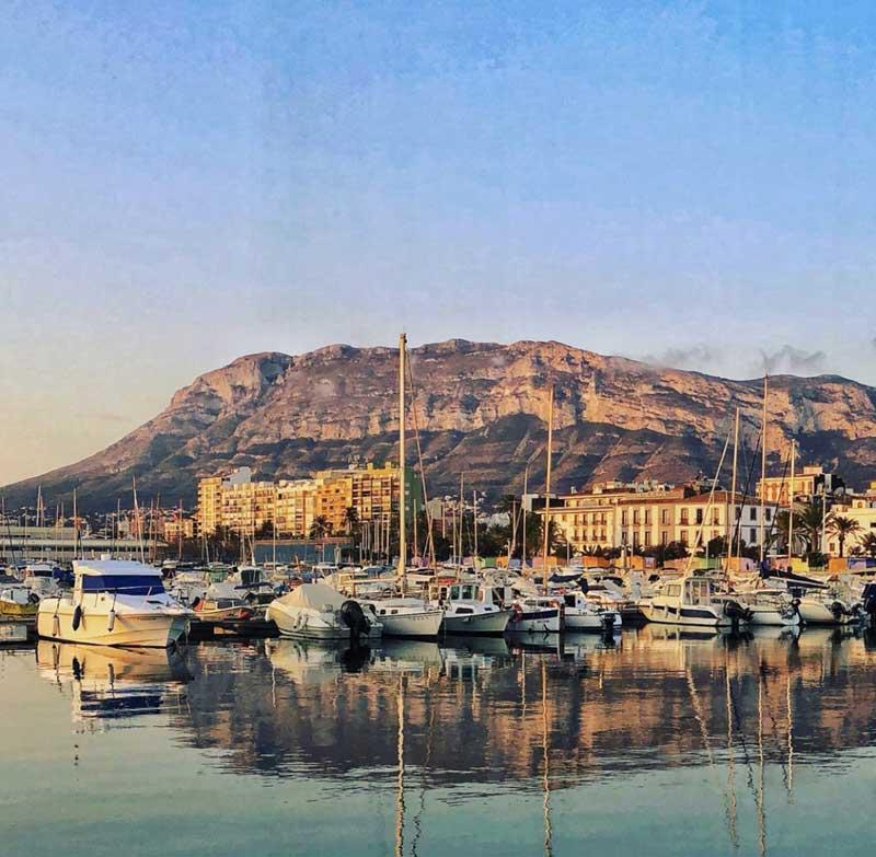 Denia's port and mountain