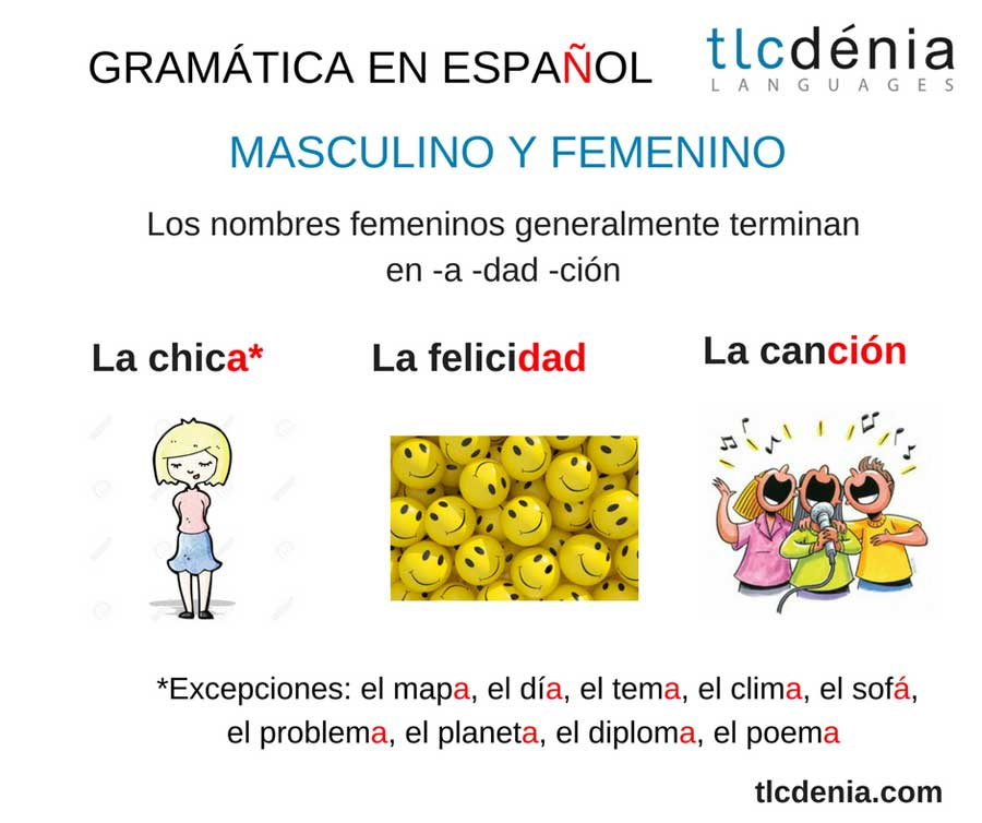 common mistakes in Spanish: masculin and feminine